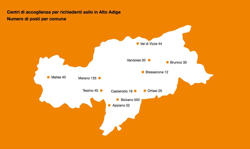 mappa dei richiedenti asilo in Alto Adige. Fonte Eurac