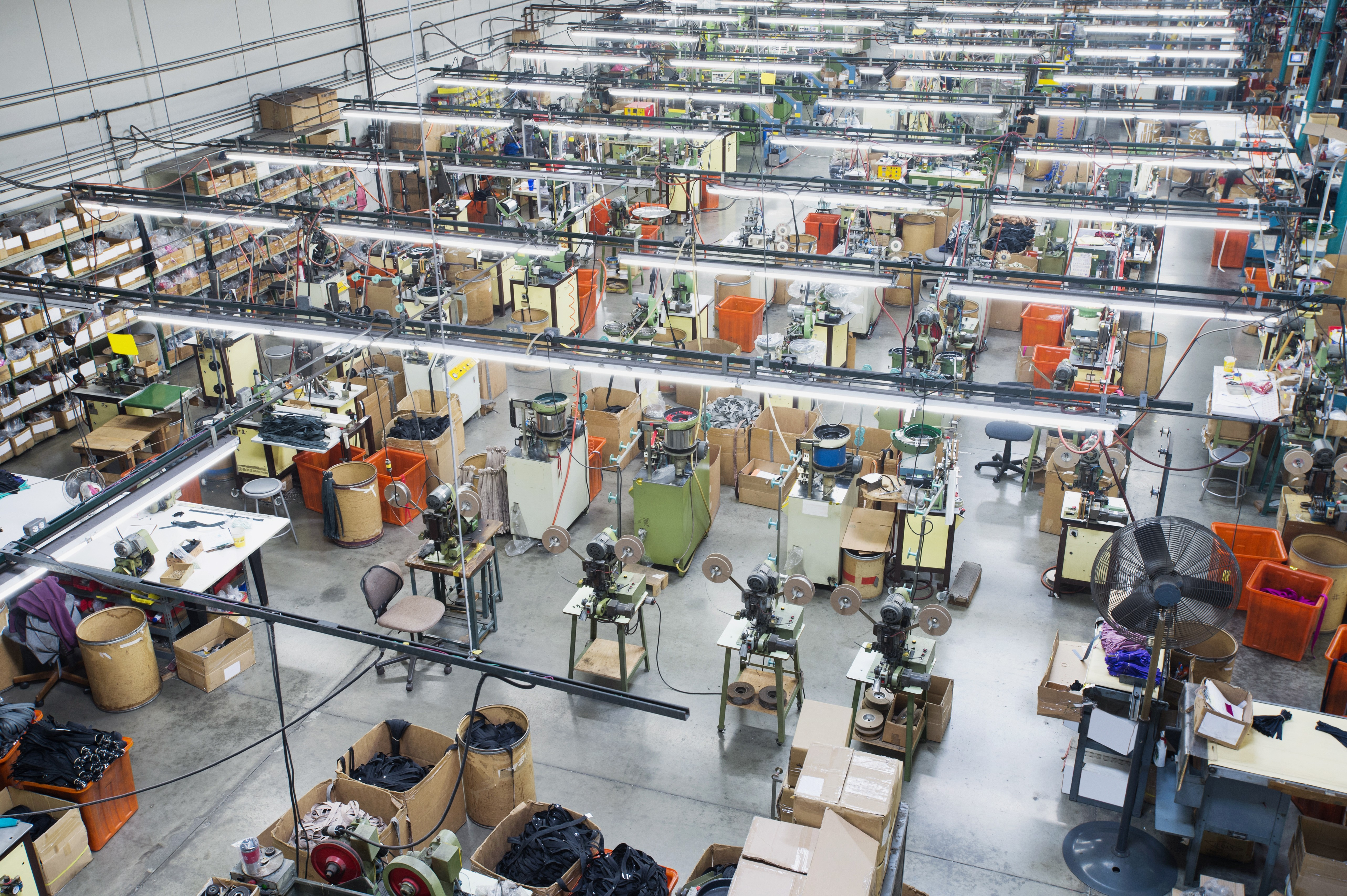 22 Feb 2013, Los Angeles, California, USA --- Overhead view of textile factory --- Image by © Erik Isakson/Blend Images/Corbis