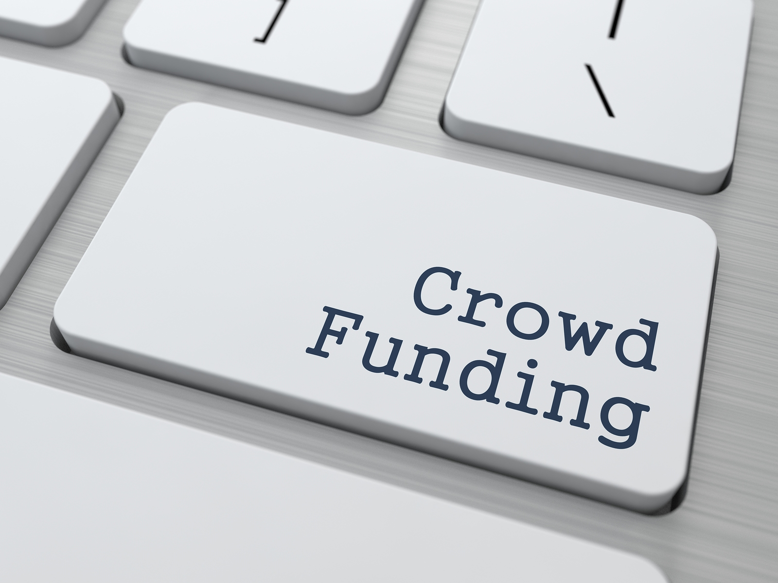 Crowd Funding Concept. Button on Modern Computer Keyboard with Word Partners on It.