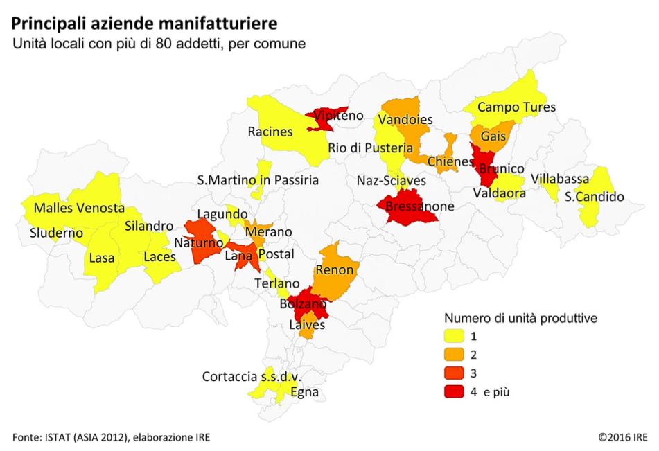 Mappa aziende manifatturiere dell'Alto Adige