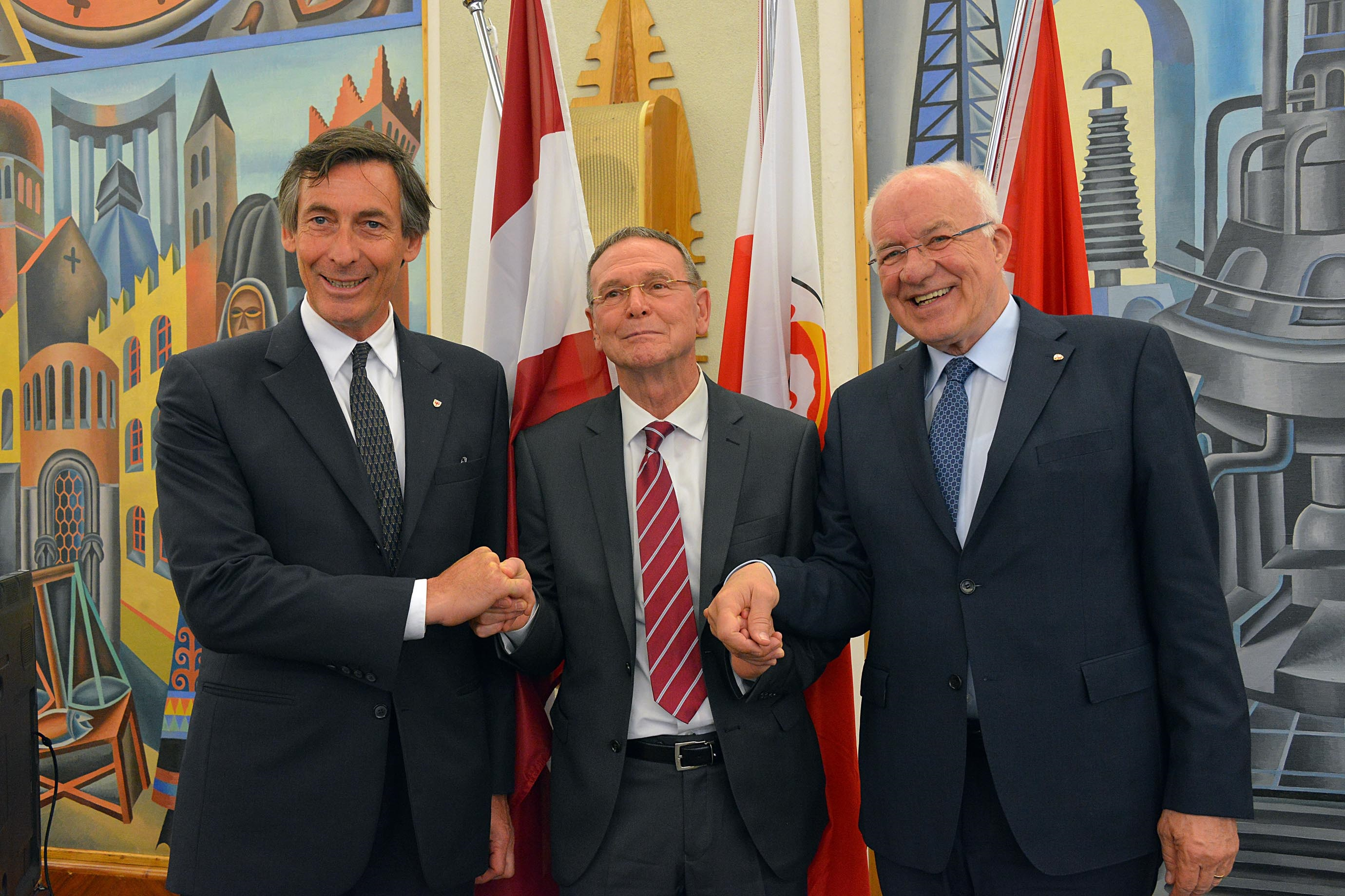 I tre presidenti Thomas Widmann, Bruno Dorigatti e Herwig Van Staa