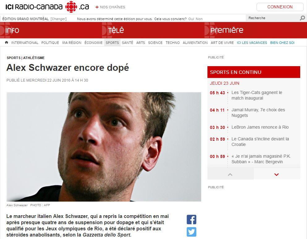 Alex Schwazer rassegna stampa estera