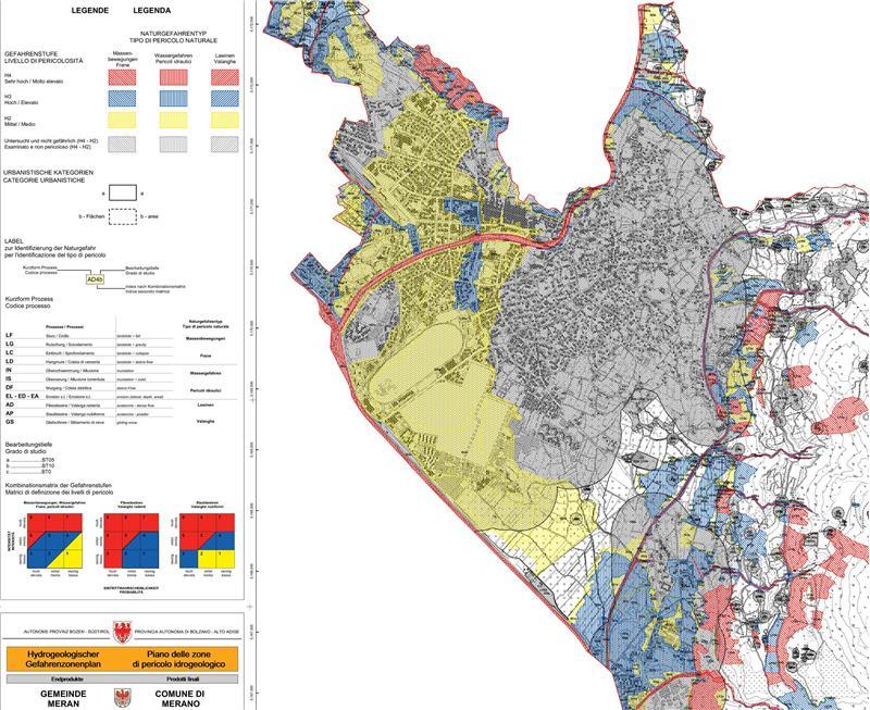 Esempio di mappa di una zona di pericolo, quella del Comune di Merano