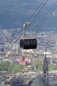 Renon-Ritten cable car overlooking the city