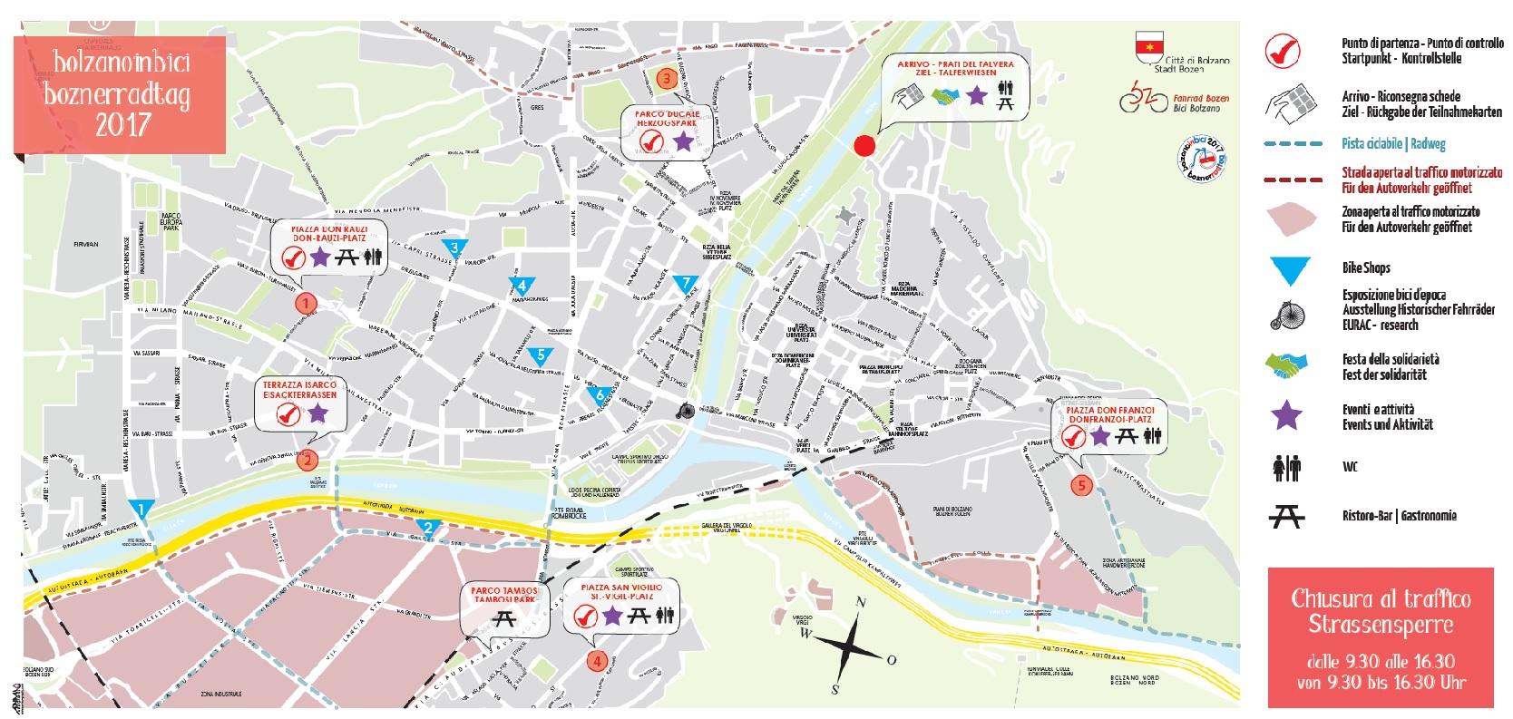 Bolzano Cartina.Bolzanoinbici Ecco La Mappa Delle Strade Chiuse Al Traffico