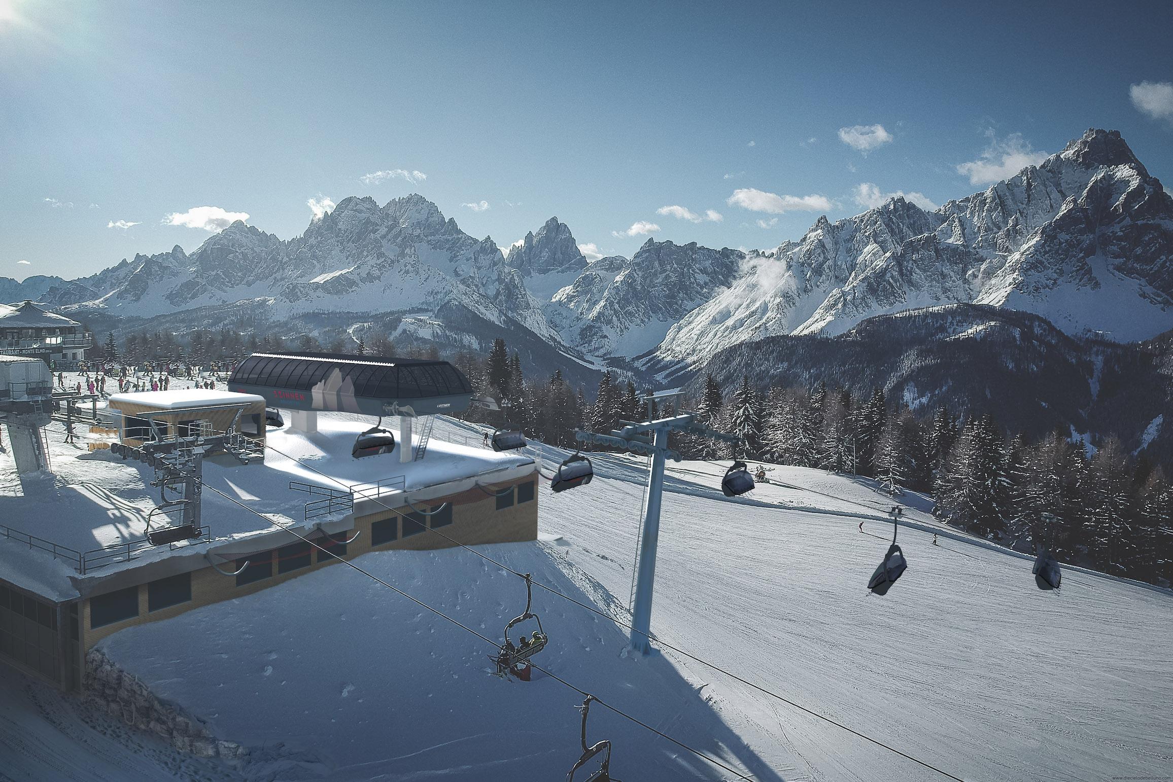 Dolomiti Superski_3 Zinnen Dolomiten_New chairlift Mittelstation Helm