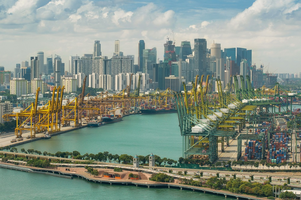 Import, Export, Logistics concept - Singapore cargo terminal,one of the busiest Import, Export, Logistics ports in the world, Singapore. Singapore is global commerce, finance and transport hub in Asia; Shutterstock ID 303475814; Purchase Order: CS Fernost - Roberta Decarli