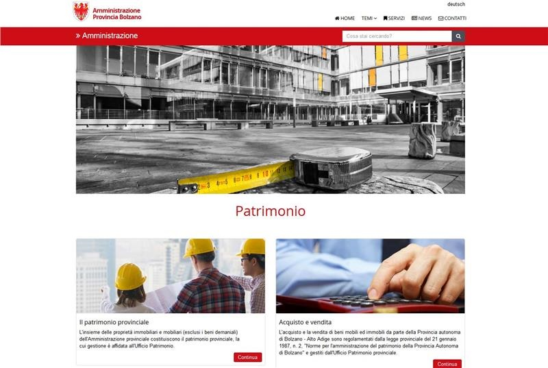 schermata sito web patrimonio